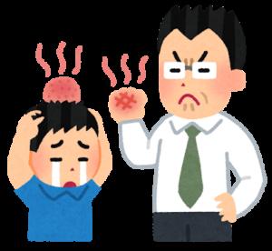 体罰する先生と子ども